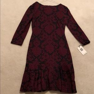 NWT: Ivanka Trump Black & Maroon Pattern Dress